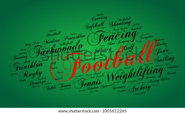 Football Word Cloud Elegant Cursive Font Stock Vector