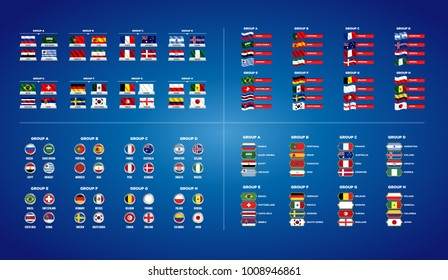 Football World championship groups. Set of four different flag illustration. Vector flag collection. 2018 soccer world tournament in Russia. World football cup. Nations flags info graphic.