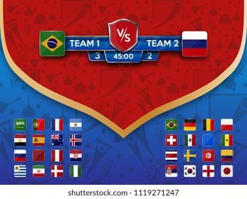 Football World championship groups. Vector flag collection.