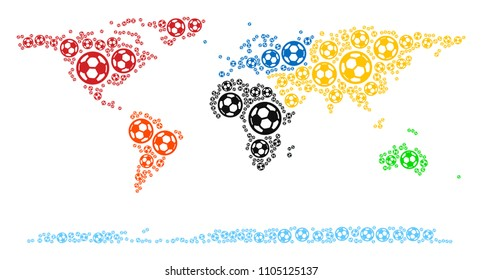 Football world continent map. Vector territory scheme made from soccer balls in variable sizes. Abstract world continent map concept is constructed with randomized soccer balls.