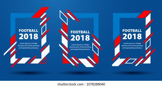 Football World Cup 2018. Design of stylish background soccer championship. Frames from colored lines. Element design cards. sport event, 2018 trend. Dynamic lines vector illustration