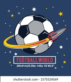 football world, soccer, rocket , space soccer, boys graphic tees vector designs