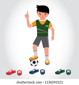 Footballer character constructor. Flat vector clipart isolated illustration. Soccer sport athletes