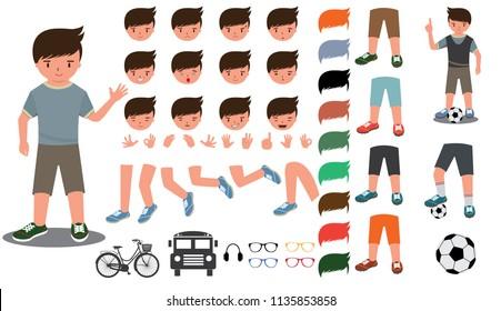 Footballer character constructor.  football uniform, boots. Vector illustration
