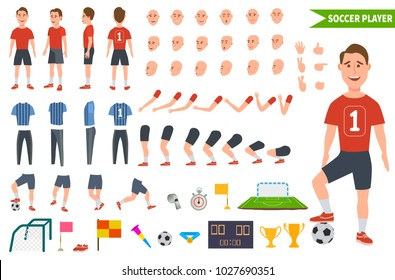Footballer character constructor. Soccer player different postures, legs, hands,  hairstyle, face, football uniform, boots. Vector illustration