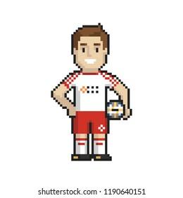 Footballer pixel art on white background. Vector illustration