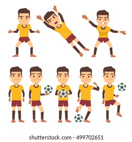 Footballer, soccer player, goalkeeper in different gaming poses set of vector flat characters. Sportsman playing in football illustration