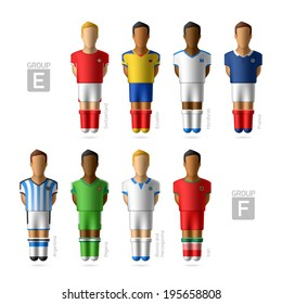 Footballers, soccer players. Group E and F - Brazil 2014. Vector.