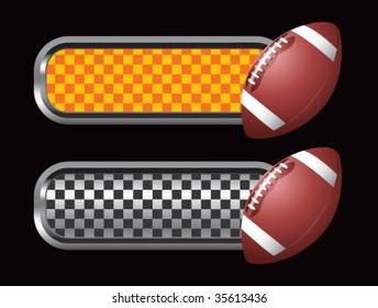 footballs on diamond checkered banners
