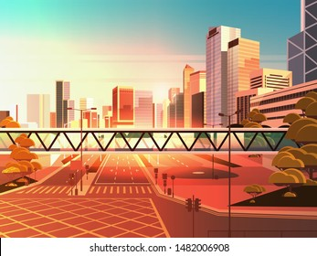 footbridge over highway asphalt road with marking arrows traffic signs city skyline modern skyscrapers cityscape sunset background flat horizontal