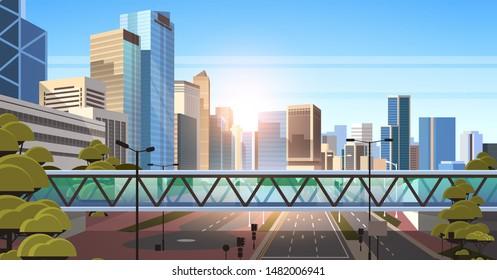 footbridge over highway asphalt road with marking arrows traffic signs city skyline modern skyscrapers cityscape sunshine background flat horizontal