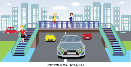 footbridge, overpass, children using pedestrian crossing. underpass. traffic education. traffic rules for children. Traffic signs. teacher and children traffic training