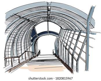 Footbridge view - hand drawn sketch