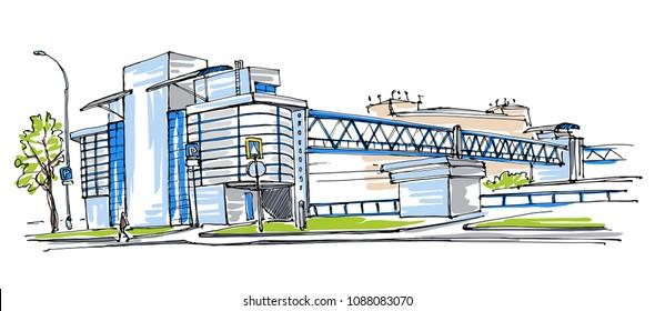 Footbridge view sketch
