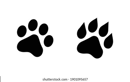The footprint of an animal. Flat black and white icon.