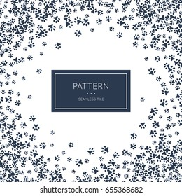 Footprint animal paws pattern. Vector illustration for zoo minimalistic design. Minimal style abstract background decoration. Modern elegant wallpaper with border frame. White black vintage color