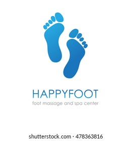 Footprint in blue colors. Foot logo for healthcare, medical company, osteopath and massage center, spa and beauty salon.