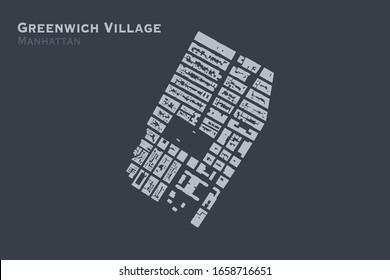 Footprint buildings map of Greenwich Village neighborhood of Manhattan, New York City in vector