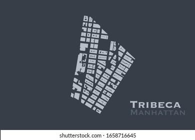 Footprint buildings vector map of Tribeca neighborhood of Manhattan, New York City