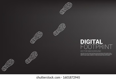 footprint from dot connect line circuit. business concept of digital transformation and digital footprint.