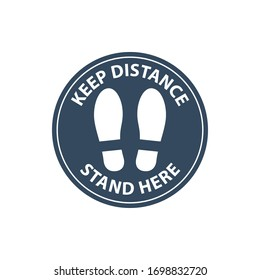 Footprint floor sticker, foot steps in circle, keep distance waiting in line, stand here sign, queue order safety, coronavirus or Covid-19 prevention, social distance, vector icon
