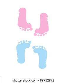 footprint of girl and boy