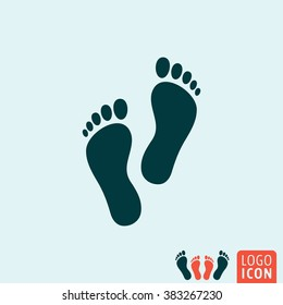 Footprint icon. Feet icon isolated, minimal design. Vector illustration