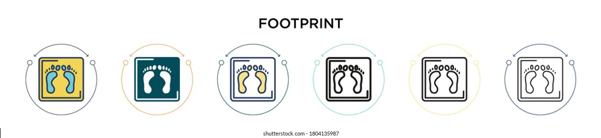 Footprint icon in filled, thin line, outline and stroke style. Vector illustration of two colored and black footprint vector icons designs can be used for mobile, ui, web