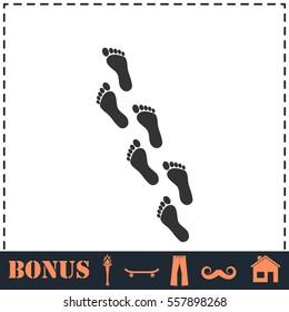 Footprint icon flat. Simple vector symbol and bonus icon