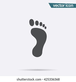Footprint icon vector. Flat footstep symbol isolated on white background. Trendy internet concept. Modern sign for web site button, mobile app, ui design. Logo illustration.