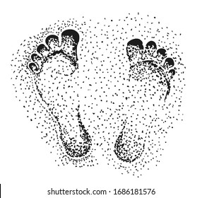 Footprint on sand.  Vector hand drawn footprint concept sketch with prints of human foot. Isolated vector illustration.