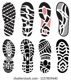 footprint  shoes big vector illustration set