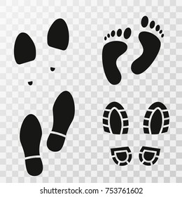 Footprint shoes. Footsteps. Footprints. Shoe and bare foot print. Shoes imprints set. Vector illustration.