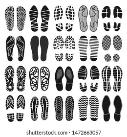 Footprint shoes top view black icon set isolated on white background. Vector illustration