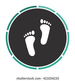 Footprint Simple flat white vector pictogram on black circle. Illustration icon
