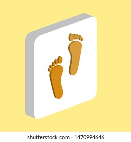 Footprint Simple vector icon. Illustration symbol design template for web mobile UI element. Perfect color isometric pictogram on 3d white square. Footprint icons for you business project