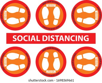 Footprint Social distancing Sign orange and red colors. Keep Distance Zone Position Set for Elevator (Lift) 6 people size . Social Distancing Concept. Protection from Covid-19 or coronavirus.