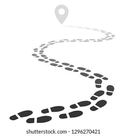 Footprint trail. Footstep walking snow trace. Footpath road away in perspective isolated vector illustration