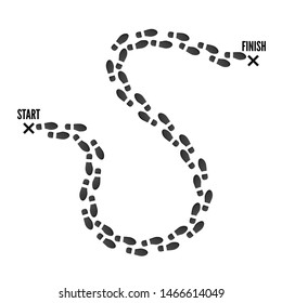 Footprint trail from start point to finish pin. Black print of boots. vector illustration isolated on white background