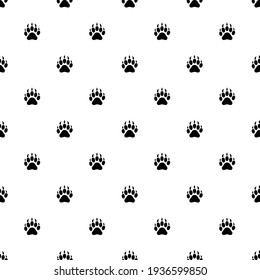 footprint vector paw print. Seamless pattern, logo on a white background.