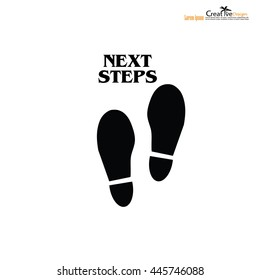 """footprint with the word """"next step"""".business concept .vector illustration."""