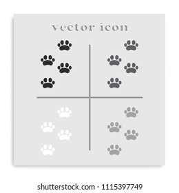 Footprints of animal paw flat black and white vector icon.