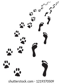 Footprints of bare feet and paws dog, turn right