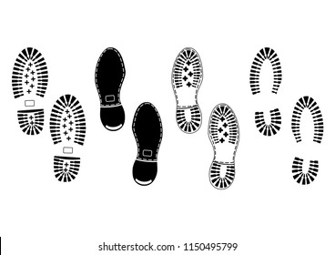 Footprints. Black silhouettes of soles of male shoes on a white background.Flat vector.