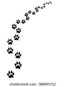 Footprints of cat, turn right