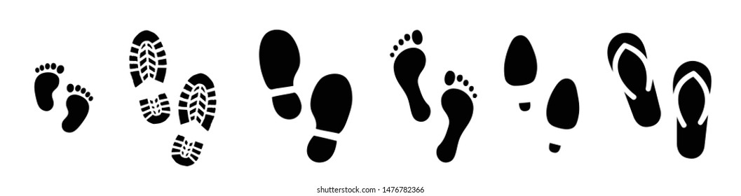 Footprints human shoes shoe sole slipper slippers sandals fun funny health feet footsteps paws people child baby bare foot vector icon steps sign Two  Walks Walking Stampen footmark flip flops tags