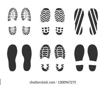 Footprints human shoes silhouette in black color