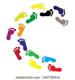footprints icon vector. colorful human footprints