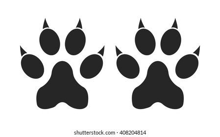 Cat Paw Print Silhouette White