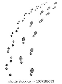 Footprints of man and dog, turn right, vector